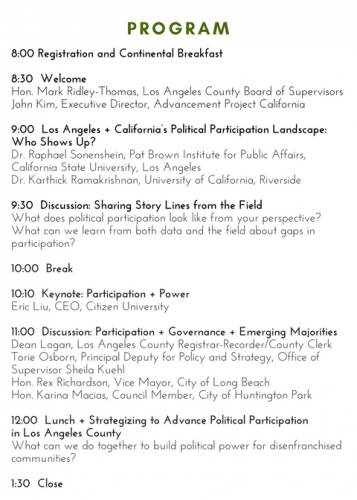 , 2016 Participation + Power </br> A Los Angeles County Strategy Summit